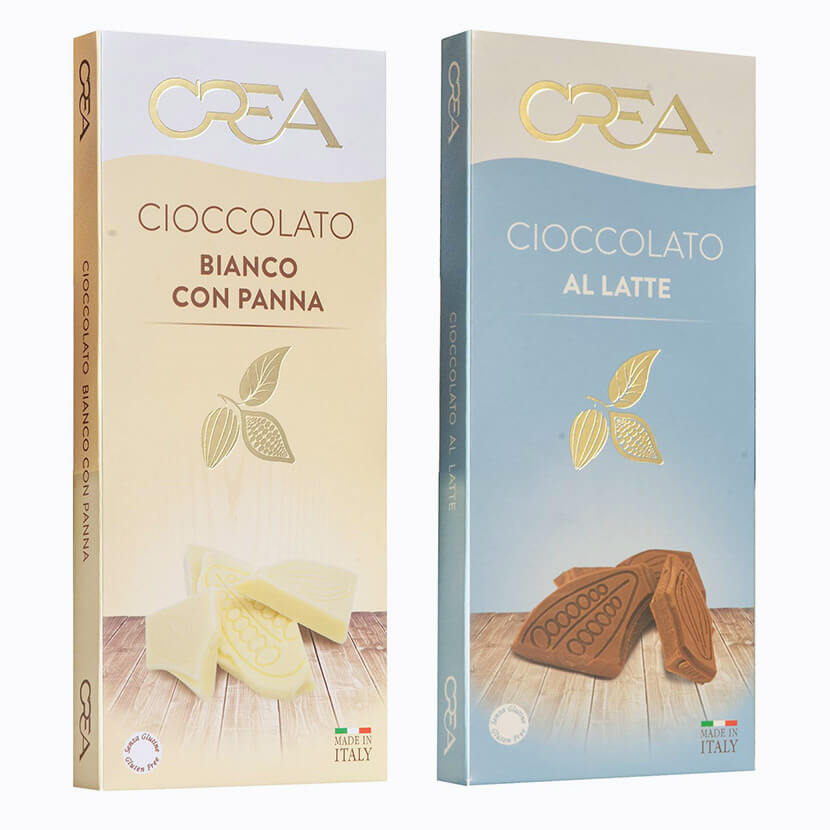 tavolette cioccolato al latte e bianco